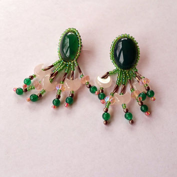 Green Chalcedony Earrings Native American Beaded Earrings Stud with Rose Quartz