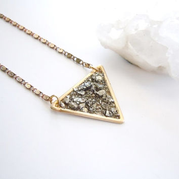 Raw Pyrite Necklace - Crushed Mineral - Raw Brass Arrow Pendant - Designer Boho Necklace