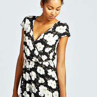 Mia Floral Capped Sleeve Wrap Front Playsuit