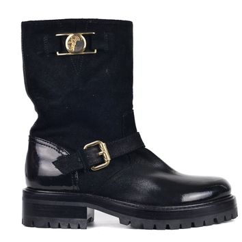 Versace Collection Women Black Buckle Suede Patent Calf Boots