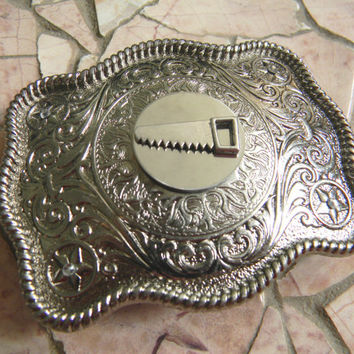 Saw Belt Buckle, Lumberjack Silver Western Belt Buckle,Contractor, Construction, Hand Saw Tool, Saw Blade Mens Womens Belt Buckle