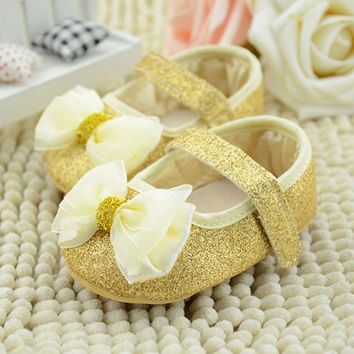 Cute Baby First walker Kid Girl Infant Soft Sole Ribbon Bowknot Princess Crib Shoes 0-18M