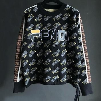 FENDI Winter Newest Popular Women Casual Embroidery Long Sleeve Round Collar Knit Thick Sweater Top Sweatshirt Black