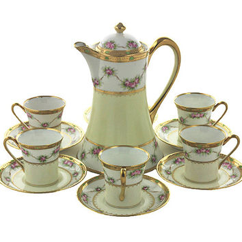 Vintage Hand Painted Nippon Chocolate Pot and 6 Matching Cups and Saucers Porcelain Marked Gold Ivory Cream Pink Green