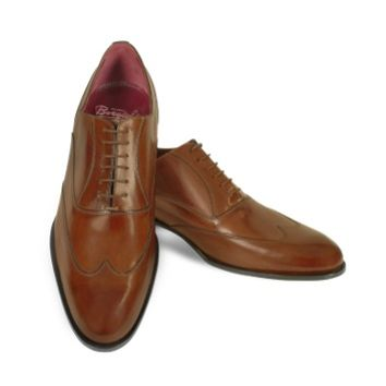 Fratelli Borgioli Designer Shoes Handmade Brown Italian Leather Wingtip Oxford Shoes
