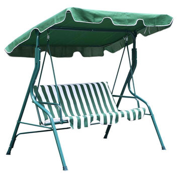Green & White 2-Seat Outdoor Patio Porch Canopy Swing