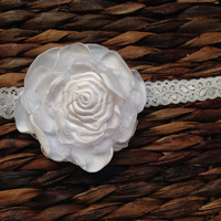 Christening Headband for girls/ Infant White Satin and Organza Flower Headband/ Baptism Lace Headband