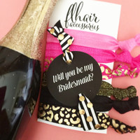 Will you be my bridesmaid, maid of honor, flower girl single hair ties on a colored card party favor pop the question