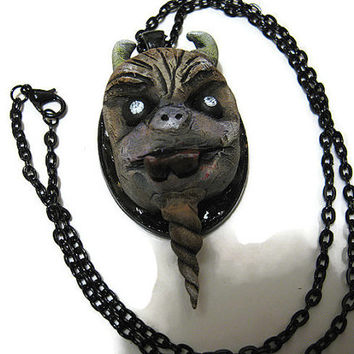 Beast Monster Creature Pendant Necklace with Black Setting and Chain Polymer Clay