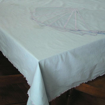 Upcycle Supply - Blue Cotton Fringed Tablecloth and 8 Matching Placemats, Badly Stained, Great for Picnics, ~~by Victorian Wardrobe