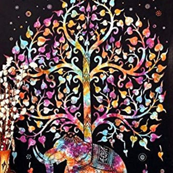 Indian Elephant Tree Tapestry ,Good Luck Elephant Tapestry, Hippie Gypsy Wall Hanging, Tree of Life Tapestry Queen Dorm Tapestry,Bohemian Bedspread Decor