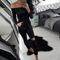High quality elegant jumpsuits for women 2016 autumn casual velvet  rompers womens bodycon fitness jumpsuit bandage overalls