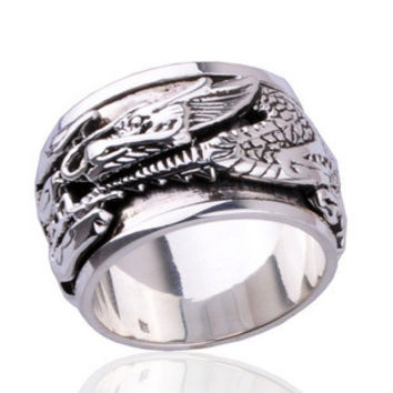 Ancient Dragon Ring for Men's Fashion .925 Sterling Silver Jewelry-Size 8