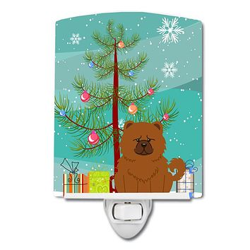 Merry Christmas Tree Chow Chow Red Ceramic Night Light BB4267CNL