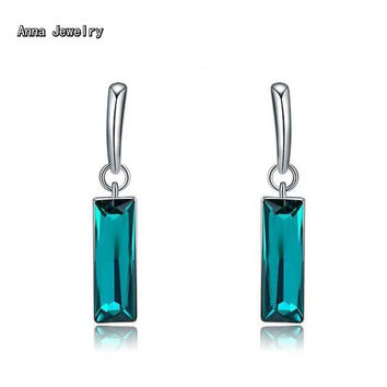 New Fashion Cute Turquoise Zircon Dangle Earring,Stainless Steel Metal With Rectangle Stone,Great Earring For Women Pierced Ears