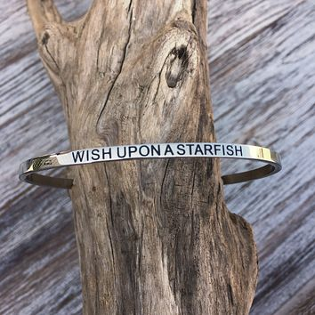 Beach Whispers Engraved Cuff Bracelet