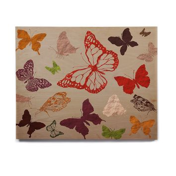 "bruxamagica ""Fall Butterfly's"" Beige Multicolor Animals Nature Illustration Mixed Media Birchwood Wall Art"