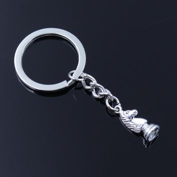 new fashion men 30mm keychain DIY metal holder chain vintage chess knight pawn bishop king queen rook silver pendant Gift
