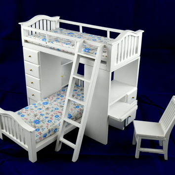 Dolls House Miniature Teen Bedroom Furniture White Bunk Bed Set Desk Chair