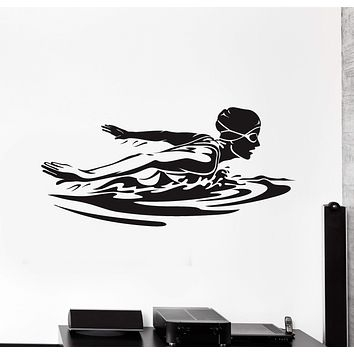 Vinyl Wall Decal Female Swimmer Woman Swimming Pool Swim Stickers Mural Unique Gift (ig4990)