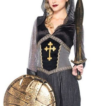 MDIGH3W Joan of Arc,faux chainmail hooded dress w/ faux leather cuffs SMALL BLACK/SILVER