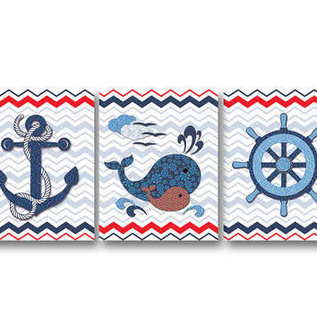 Nautical nursery wall decor bathroom art kids room artwork baby boy room art nursery decoration anchor captain wheel whale navy blue red