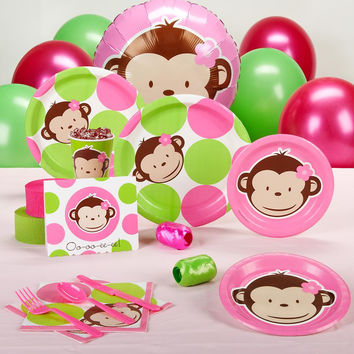 Pink Mod Monkey Baby Shower Standard Party Pack