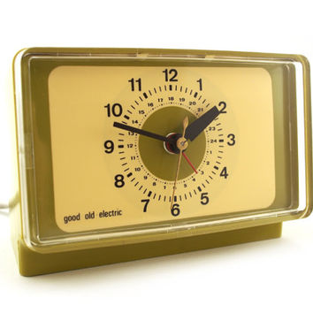 Retro green Alarm Clock. Good Old Electric brand. Germany. Table clock, space age, Retro homeware.