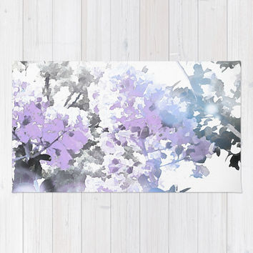 Watercolor Floral Lavender Teal Gray Rug by lilkiddies