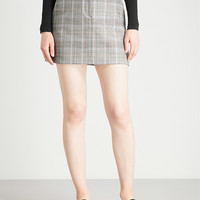 THEORY Checked stretch-wool mini skirt