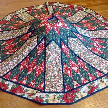 Handcrafted Quilted Christmas Tree Skirt  in Red and Green and Cream fabrics
