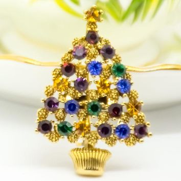 Esienberg Ice Brooch - Christmas Tree Brooch - Rhinestone Christmas Brooch - Mid-Century Brooch - Gift for her - Mom Gift - Christmas Gift