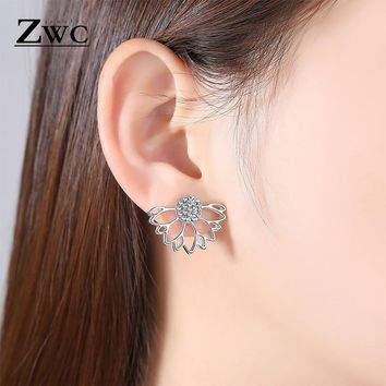 ZWC Simple Personality Sun Flower Crystal Double-sided Stud Earrings for Women and Girl Wedding Fashion Romantic Earring Jewelry