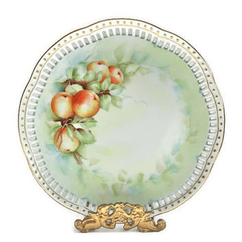 Peach Fruit Decor Plate / Gold Trim / Handpainted and Signed / Home Decor