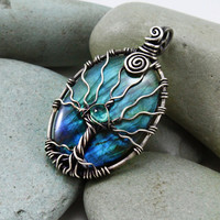 Tree of Life Labradorite and Apatite necklace by MoonGlowJewelry