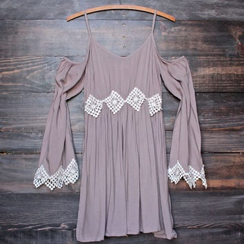 boho babe crochet accent bell sleeves festival dress in taupe
