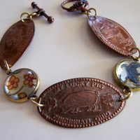Handmade Charm Bracelet Lucky Penny Vacation Keepsake Warm Copper and Vintage Tin in Yellow and Blue, OOAK Repurposed Creation