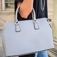 Grey Structured Shoulder Bag