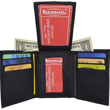 Men's Lambskin Leather Trifold Center Flap Double ID Credit Card Holder Wallet