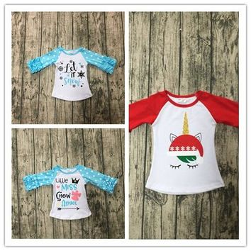 3 designs in stock Christmas Fall/winter baby girls Let it snow top little miss snow angle tee unicorn raglans kids wear outfits
