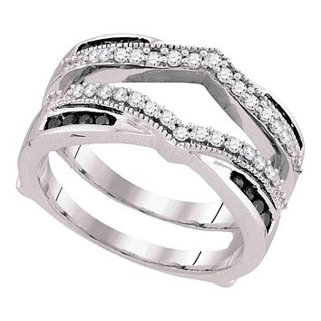 10kt White Gold Women's Round Black Color Enhanced Diamond Wrap Ring Guard Enhancer Wedding Band 1/2 Cttw - FREE Shipping (US/CAN)