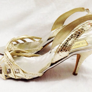 Vintage 80s CLEO BOTTIER Elegant Evening Cocktail Party Slingback Open Toe Leather Made in Italy Shoes High Heels Pumps