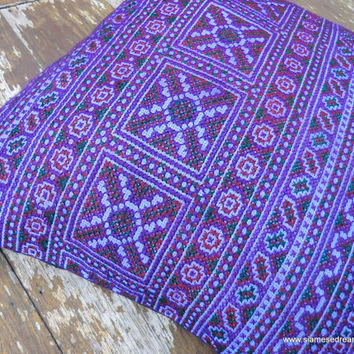 Boho Pillows Colorful Purple Embroidered Hmong Pillow Cover 16 inch