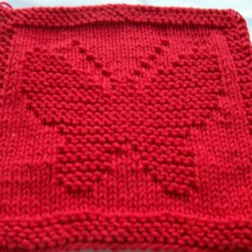 Hand knit  dish cloth wash cloth Red butterfly