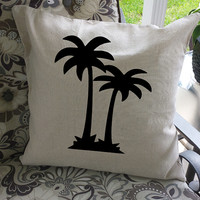 "Palm Tree Pillow Cover, 18x18, 100% Cotton!  Perfect for your ""summer"" place!"