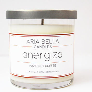 8 oz Soy Candle - Hazelnut Coffee - Energize
