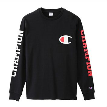 Champion thin section of the C double-sleeved letter printing long-sleeved T shirt wild jacket men and women models Black