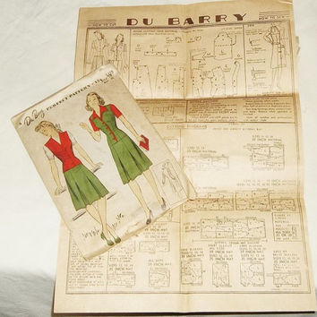 Vintage DU BARRY Dress Pattern, ca1940-50, Ladies Med