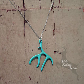 Turquoise Deer Antler Charm Necklace /Antler Necklaces
