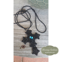 Beaded Cross Necklace, Black Cross, Gothic Necklace, Gothic Jewelry, Goth Fashion Necklace, Blue Rivoli, Long Necklace, Goth, Gothic, Lolita